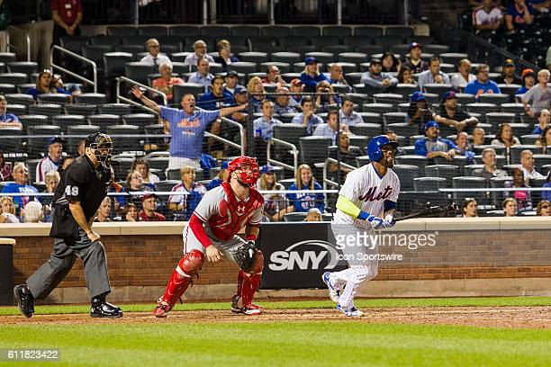 New York Mets Infield Jose Reyes [3276] homers to right field scoring Nimmo in the ninth inning of a regular season game between the Philadelphia...