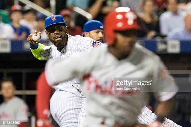 New York Mets Infield Jose Reyes [3276] throws out Philadelphia Phillies Outfield Roman Quinn moving Hernandez to second in the eighth inning of a...
