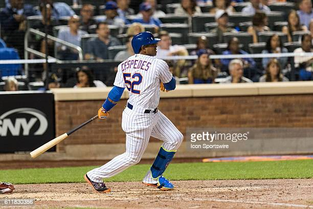 New York Mets Left field Yoenis Cespedes [6997] singles to left field in the fourth inning of a regular season game between the Philadelphia Phillies...