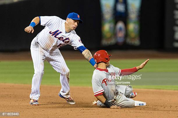 New York Mets Shortstop Asdrubal Cabrera [6195] tags Philadelphia Phillies Second base Cesar Hernandez [8497] out trying to steal second base in the...