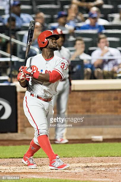 Philadelphia Phillies Center field Odubel Herrera [9078] flies out to center field in the fourth inning of a regular season game between the...