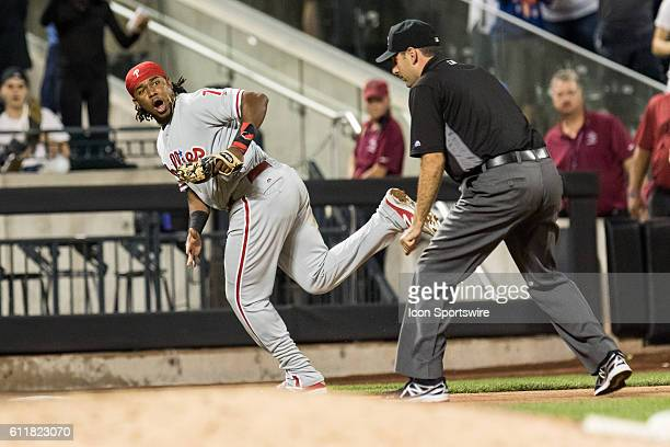 Philadelphia Phillies Third base Maikel Franco [9867] looks back at the third base umpire in the seventh inning of a regular season game between the...