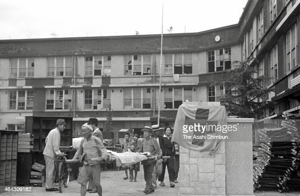 Temporary hospital, set up at Shin Kozen Elementary School in Nagasaki after the atomic bombing of the Japanese city on 9th August 1945. The world's...
