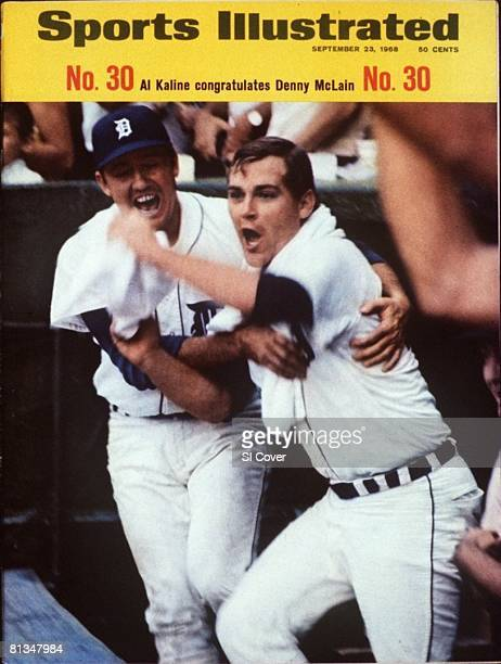 September 23 1968 Sports Illustrated Cover Baseball Detroit Tigers Al Kaline victorious with Denny McLain after winning 30th game of season by...