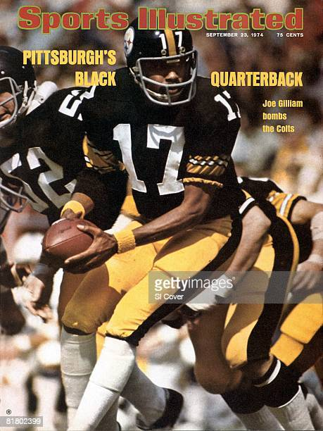 September 23 1974 Sports Illustrated Cover Football Pittsburgh Steelers QB Joe Gilliam in action making handoff vs Baltimore Colts Pittsburgh PA...