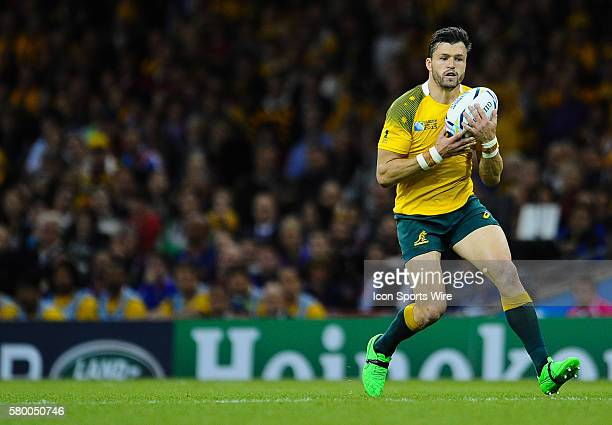 Australia's Adam Ashley-Cooper in action during todays match during the 2015 Rugby World cup match-up between Australia and Fiji being held at...
