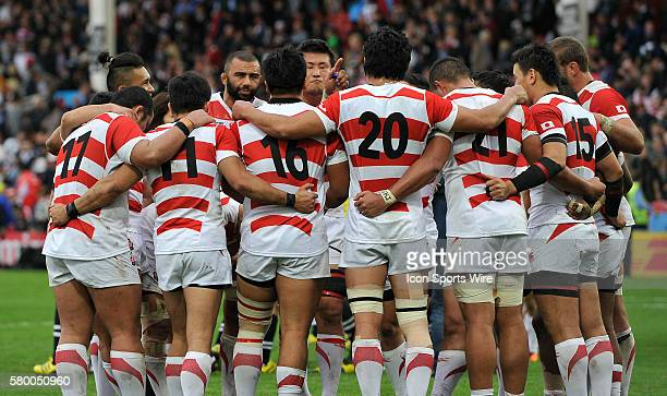 Japan's Michael Leitch speaks to his team at the final whistle after losing to Scotland during the 2015 Rugby World cup matchup held at Kingsholm in...