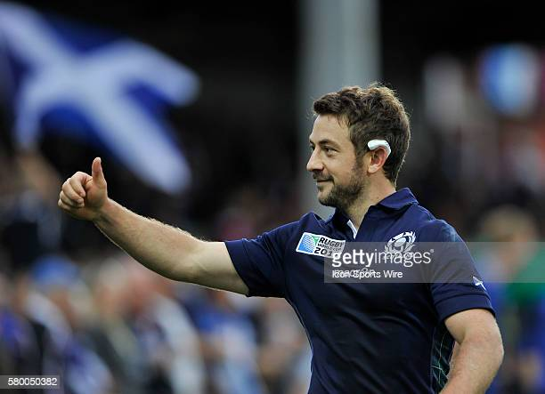 Scotland's Greig Laidlaw salutes the fans at the final whistle after defeating Japan 45-10 at the 2015 Rugby world Cup in Gloucester, UK.