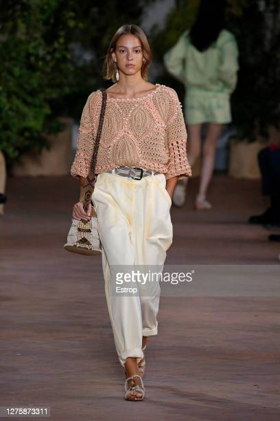 September 23: A model walks the runway during the Alberta Ferretti Fashion show as part of the Milano Fashion Week Spring/Summer 2021 on September...