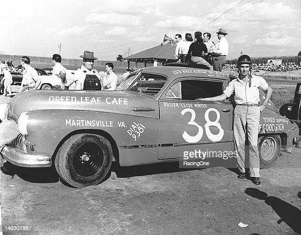 Clyde Minter with his 1947 Buick before a NASCAR Cup race at North Wilkesboro Speedway Minter went on to finish the race in 15th position Note that...