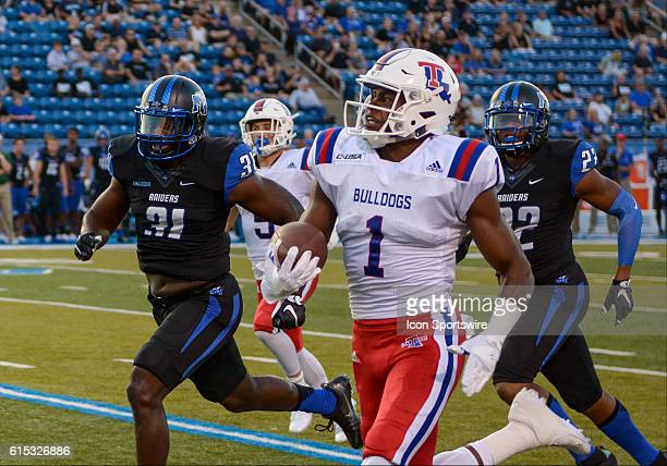 Carlos Henderson running during the game between the Louisiana Tech Bulldogs and the MTSU Blue Raiders at Johnny Red Floyd Stadium in Murfreesboro TN