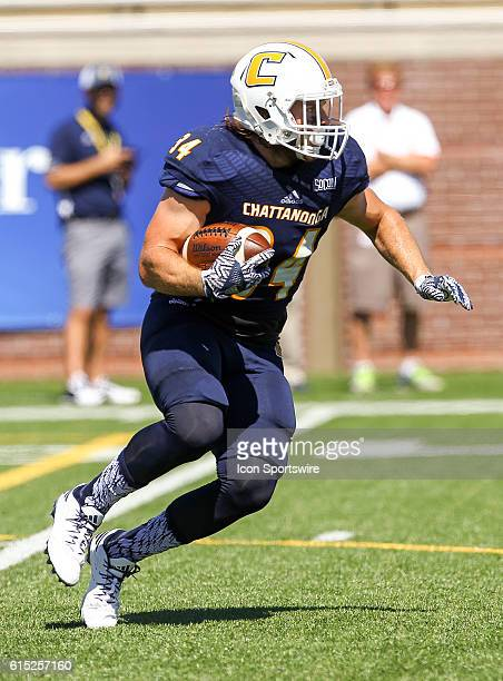 Chattanooga Mocs running back Derrick Craine runs the ball during the game between Samford and UT Chattanooga Chattanooga defeats Samford 41 21 at...