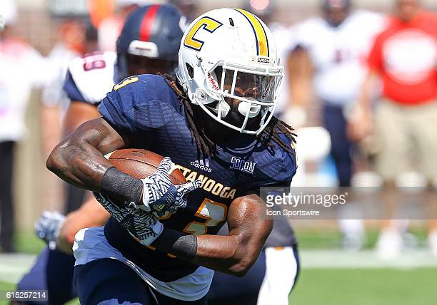 Chattanooga Mocs running back Richardre Bagley runs the ball during the second quarter of the game between Samford and UT Chattanooga Chattanooga...