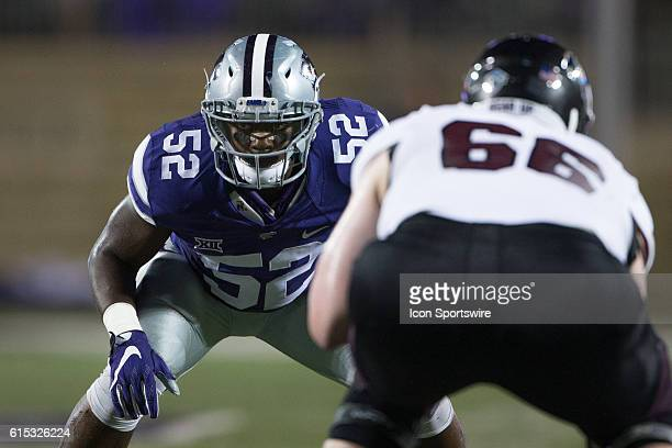 Kansas State Wildcats linebacker Charmeachealle Moore during the NCAA nonconference division one game between the Missouri State Bears and the Big 12...