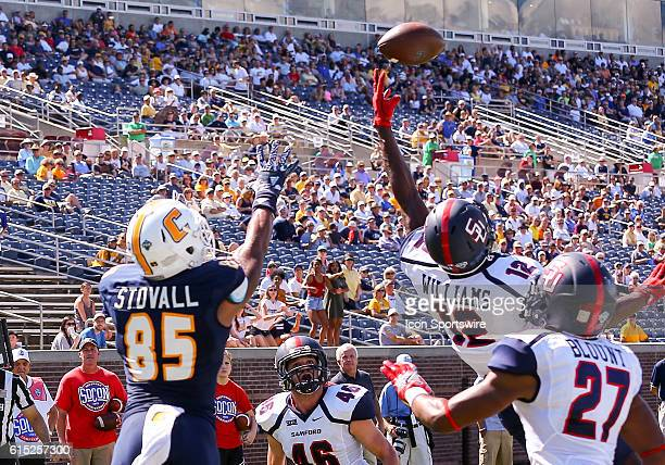 Samford Bulldogs defensive back Omari Williams gets his hand a a ball intended for Chattanooga Mocs wide receiver James Stovall during the second...