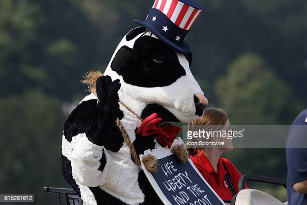 The ChickFilA cow makes an appearance at the third round of the 2016 PGA Tour Championship at East Lake Golf Club in Atlanta Georgia