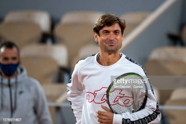 September 24. Coach David Ferrer reacts with Alexander Zverev of German during a practice match with Rafael Nadal of Spain on Court Philippe-Chatrier...