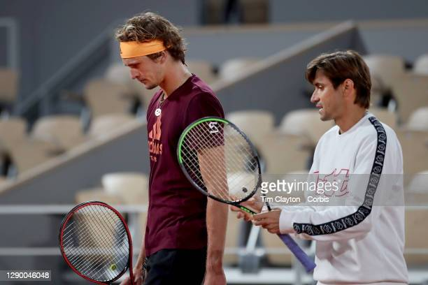 September 24. Coach David Ferrer talks with Alexander Zverev of Germany during practice on Court Philippe-Chatrier in preparation for the 2020 French...
