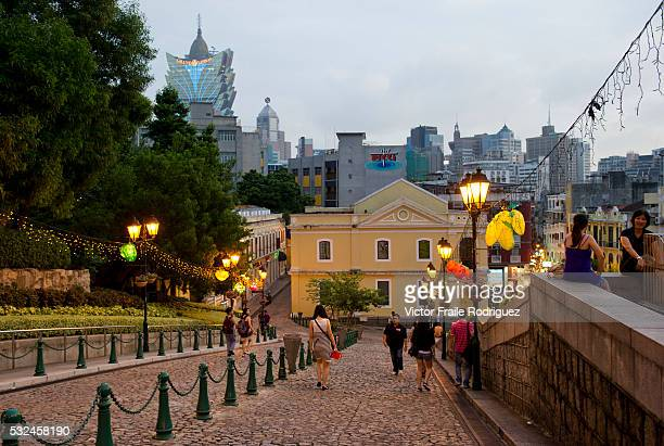 Features of Macau in China View of the centre of Macau's Historic District the Senado Square Photo by Victor Fraile Image by © Victor Fraile