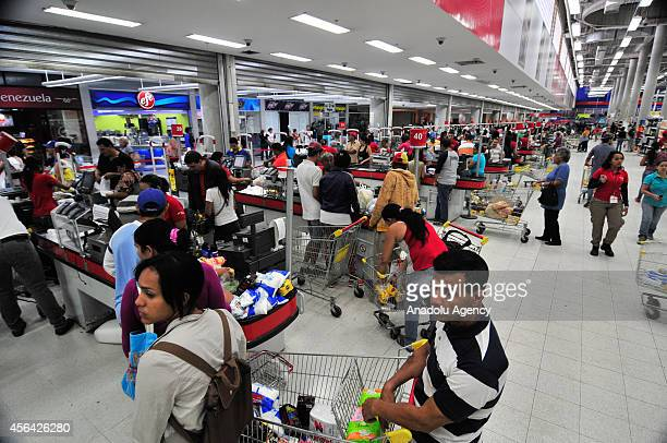 September 25 2014 dated picture shows a general view of supermarket in Venezuela Venezuela starts fingerprinting system at supermarkets to combat...