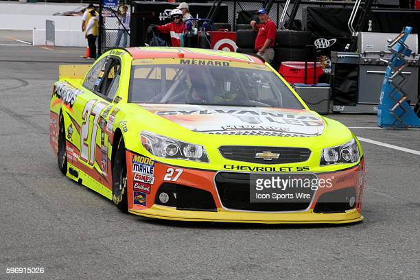 Sprint Cup Contender, Paul Menard, driver of the Sylvania / Menards Chevy in the pits during practice for the Sprint Cup Series Sylvania 300 race at...
