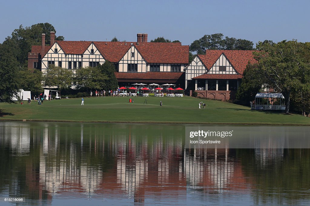 A general view of the clubhouse during the final round of the 2016 PGA Tour Championship at East Lake Golf Club in Atlanta, Georgia.