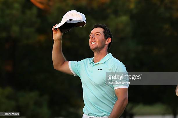 Rory McIlroy celebrates his victory at the final round of the 2016 PGA Tour Championship at East Lake Golf Club in Atlanta Georgia