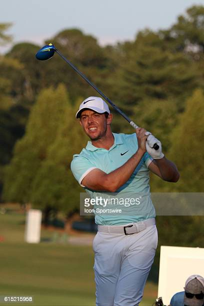 Rory McIlroy tees off on the final playoff hole of the final round of the 2016 PGA Tour Championship at East Lake Golf Club in Atlanta Georgia