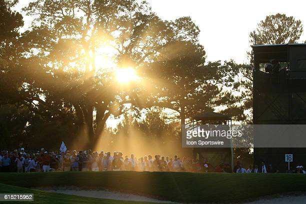 The sunset behind hole the final playoff hole of the final round of the 2016 PGA Tour Championship at East Lake Golf Club in Atlanta Georgia