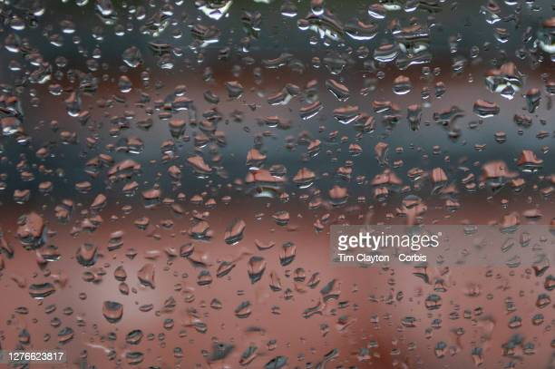 September 25 A rainy day at Roland Garros showing the outside courts covered as the rain falls at the 2020 French Open Tennis Tournament at Roland...