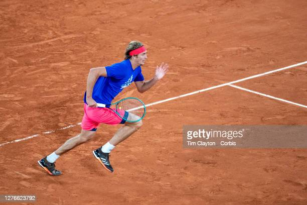 September 25 Alexander Zverev of Germany while playing a practice match against Pablo Carreno Busta on Court PhilippeChatrier in preparation for the...