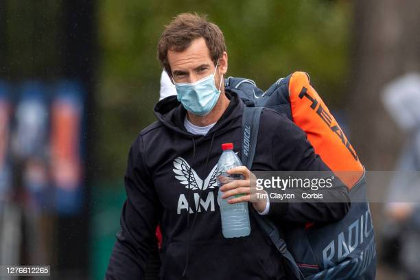 September 25 Andy Murray of Great Britain as he prepares to practices after continual rain delays at the 2020 French Open Tennis Tournament at Roland...