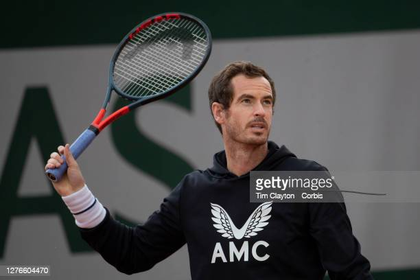 September 25 Andy Murray of Great Britain during practice at the 2020 French Open Tennis Tournament at Roland Garros on September 25th 2020 in Paris...