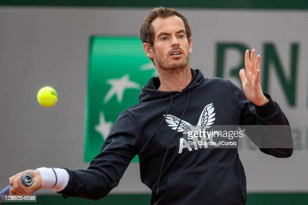 September 25. Andy Murray of Great Britain during practice at the 2020 French Open Tennis Tournament at Roland Garros on September 25th 2020 in...