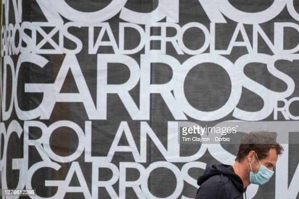 September 25 Andy Murray of Great Britain warms up outside court two in front of Roland Garros signage as he prepares to practices after continual...
