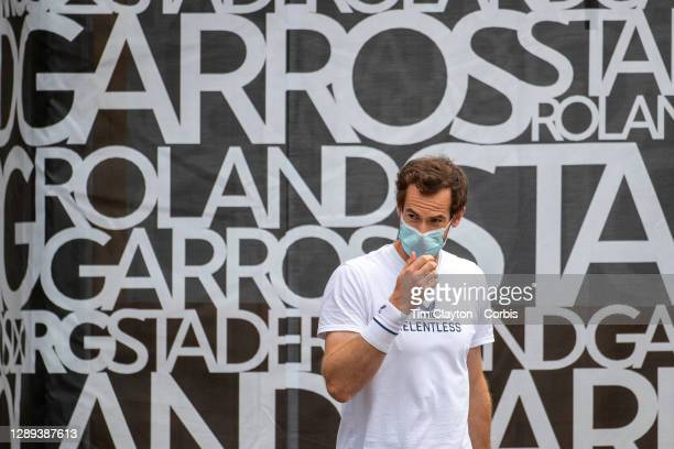 September 25. Andy Murray of Great Britain warms up outside court two in front of Roland Garros signage as he prepares to practices after continual...