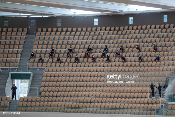 September 25 Ball boys and girls socially distance as they watch practice on Court PhilippeChatrier at the 2020 French Open Tennis Tournament at...