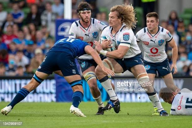 September 25: Jacques du Plessis of the Bulls is tackled by Max Deegan of Leinster during the Leinster V Bulls, United Rugby Championship match at...