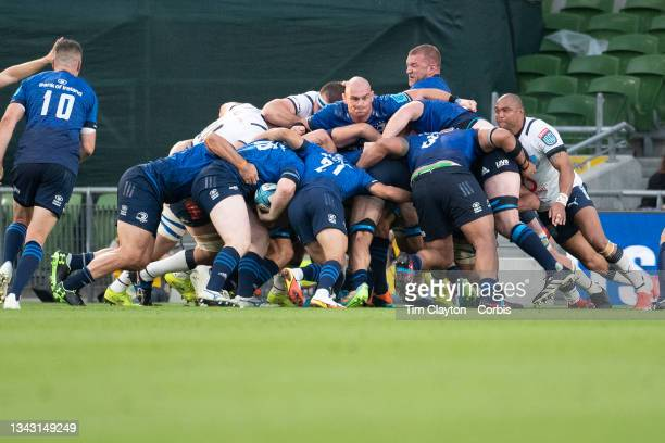 September 25: James Tracy of Leinster prepares to score a push over try during the Leinster V Bulls United Rugby Championship match at Aviva Stadium...