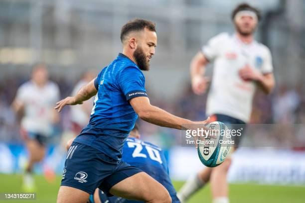 September 25: Jamison Gibson-Park of Leinster kicks down field during the Leinster V Bulls United Rugby Championship match at Aviva Stadium on...