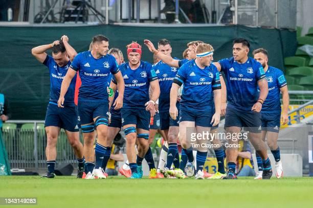 September 25: Leinster players celebrate a push over try during the Leinster V Bulls United Rugby Championship match at Aviva Stadium on September...