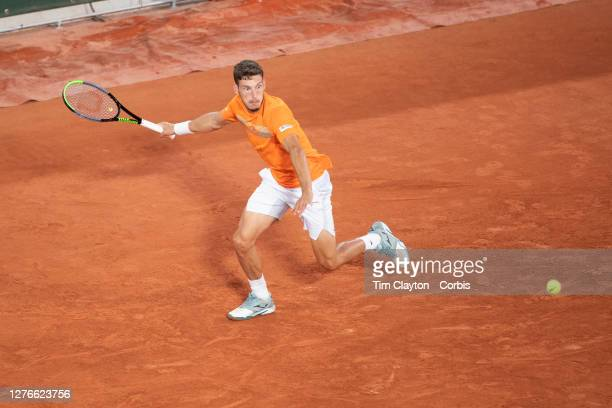 September 25 Pablo Carreno Busta of Spain while playing a practice match against Alexander Zverev of Germany on Court PhilippeChatrier in preparation...