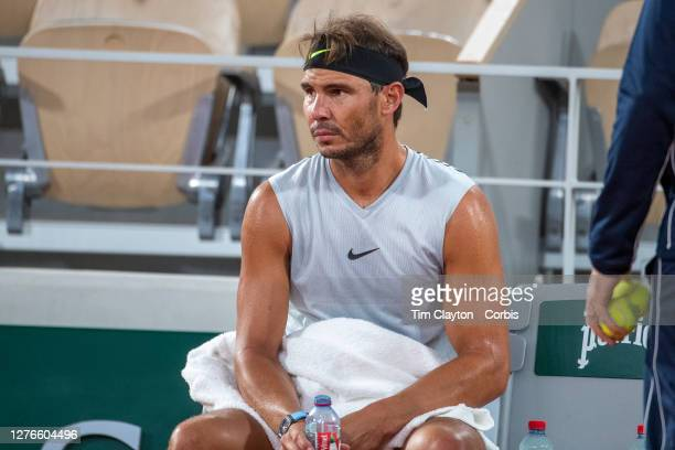 September 25 Rafael Nadal of Spain during his practice match with Filip Krajinovic of Serbia on Court PhilippeChatrier in preparation for the 2020...