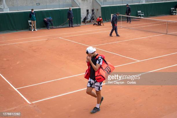 September 25 Renzo Oliver of Argentina in tears as he leaves the court after his loss to Michael Mmoh of the United States during the Qualifications...
