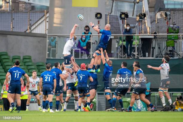 September 25: Rhys Ruddock of Leinster wins a line out against Janko Swanepoel of the Bulls during the Leinster V Bulls, United Rugby Championship...