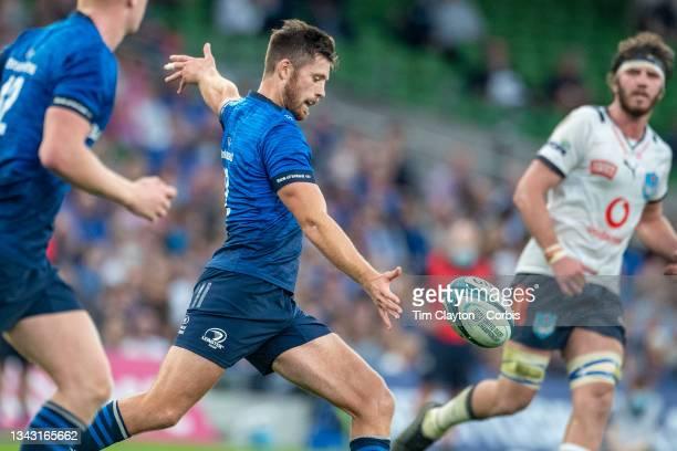September 25: Ross Byrne of Leinster kicks down field during the Leinster V Bulls, United Rugby Championship match at Aviva Stadium on September...