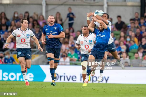 September 25: Stedman Gans of the Bulls and Jamison Gibson-Park of Leinster challenge for a high ball during the Leinster V Bulls United Rugby...