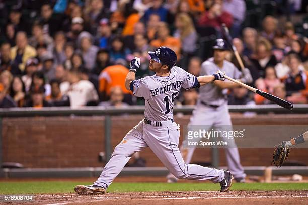 San Diego Padres right fielder Jeff Francoeur at bat and following the trajectory of the ball during the game between the San Francisco Giants and...