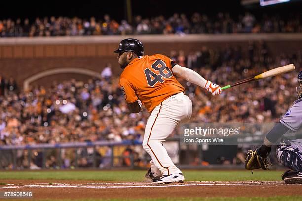 San Francisco Giants third baseman Pablo Sandoval at bat and watching the trajectory of the ball during the game between the San Francisco Giants and...