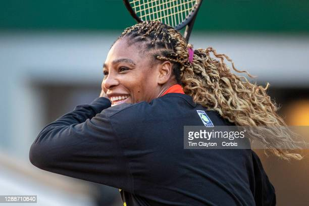 September 26. Serena Williams of the United States training on Court Philippe-Chatrier in preparation for the 2020 French Open Tennis Tournament at...